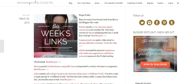 As Seen On- Brown Girl Bloggers 3-20-2015 Weekly ReCap
