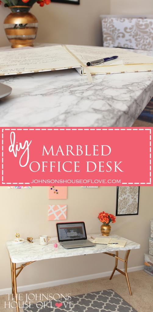 DIY Marbled Office Desk - Every blogger needs one of these! In less than 1 hour you can have instagram worthy #deskgoals!